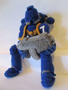 Warhammer Ultramarine by *SadDaysCrochet on deviantART Crochet Patterns Amigurumi, Amigurumi Doll, Crochet Toys, Knit Crochet, Warhammer Models, Warhammer 40k, Nerd Crafts, Custom Dolls, Stuffed Toys Patterns