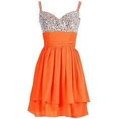 Dresstells Short Sexy Chiffon Prom Party Dress Homecoming Dress ($359) ❤ liked on Polyvore featuring dresses, cocktail prom dress, orange dress, chiffon dress, sexy dresses and short cocktail dresses