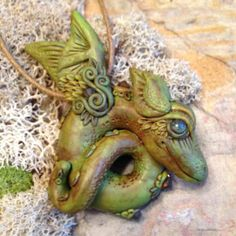 Baby Dragon Pendant in Green and Brown  With by CoparAingeal Polymer Clay Dragon Pendant