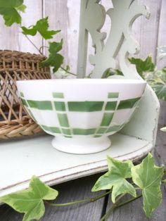 Ancien bol motif torchon à rayure verte 1960