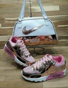 Shiny foil Nike purse with Nike foil sneakers Cute Sneakers, Shoes Sneakers, Shoes Heels, Pumps, Sneakers Fashion Outfits, Fashion Shoes, Fashion Tape, Fashion Tights, Male Fashion