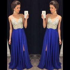 Charming Prom Dress,A-Line Prom Dress,Chiffon Prom Dress,V-Neck Prom Dress,Beading Evening Dress on Luulla #promdresses