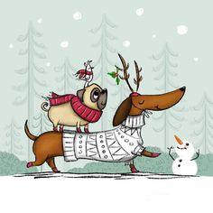 Dachshund and Pug Winter Walk Arte Dachshund, Dachshund Love, Pug Love, Daschund, Dog Illustration, Christmas Illustration, Christmas Animals, Christmas Art, Christmas Dachshund