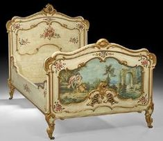 Louis XV style polychrome [painted] and parcel gilt bed, early 20th century