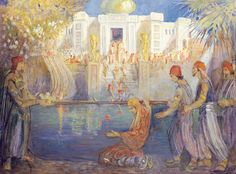 Lehi's dream about tree of life by Minerva Teichert