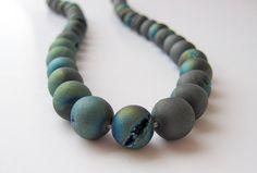 Titanium Druzy Beads 10mm Blue Green Iridized by CRAZYCOOLSTUFF on Etsy
