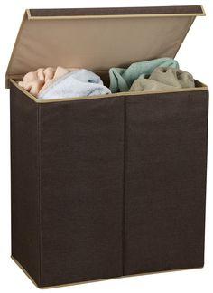 Double Hamper Laundry w/ Magnetic Lid,Coffee Linen - casa.com