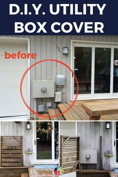Looking for utility box cover those outdoor eyesores? This DIY utility box cover is gorgeous and functional. It easily opens to the utility box whenev., DIY Utility Box Cover That Opens Easily! Backyard Projects, Outdoor Projects, Home Projects, Home Renovation, Home Remodeling, Electric Box, Diy Garden Furniture, Furniture Ideas, Outdoor Living