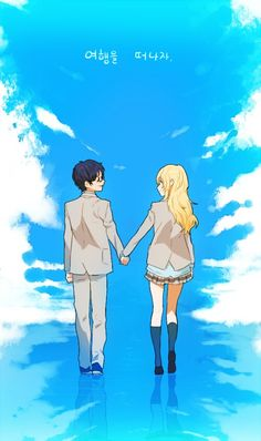 Your lie in April♡  I wonder what the korean words above mean...  Psst OMA I need ur help haha
