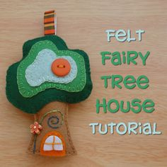Felt fabric fairy treehouse hanging ornament tutorial design how to make sew handmade hand stitched plush plushie Christmas Shoebox, Christmas Bird, Christmas Sewing, Crafts For Boys, Sewing Projects For Kids, Craft Projects, Felt Projects, House Ornaments, Hanging Ornaments