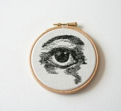 Hand embroidered illustration, stitched art.