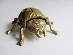 Vintage Brass Scarab Beetle Hinged Ashtray by ThreeBestGirls, $18.00