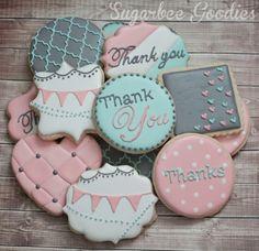 Custom Thank you Sugar Cookies 12 by SugarbeeGoodies on Etsy, $38.00