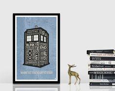 Dr Who  Tardis citation affiche par OutNerdMe sur Etsy
