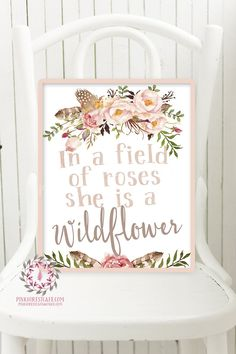In A Field Of Roses She Is A Wildflower Blush Wall Art Print Baby Girl Boho Room Watercolor Floral Printable Nursery Decor
