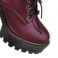 PUNK #4B Women Ankle Strappy Lace Up Womens Chunky Block Platform Creeper Shoes