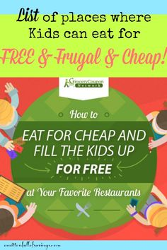Check out the BIG List of Kids Eat FREE/Cheap at Restaurants near you!  kids eat free, restaurants specials for kids, places where kids eat free,