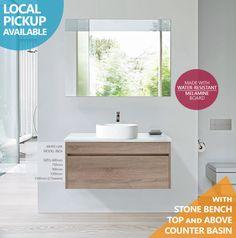 IBIZA | 900mm White Oak Timber Wood Grain Wall Hung Bathroom Vanity w Stonetop in Home & Garden, Building Materials & DIY, Plumbing & Fixtures | eBay!