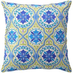 Jennifer Paganelli Back Bay Blue Green Embroidered Pillow