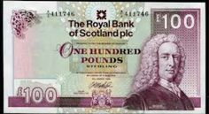 Royal Bank of Scotland One Hundred Pound Note The Royal Bank of Scotland banknotes 100 Pounds Note Scottish banknotes 100 Pound. Pound Sterling, Royal Bank, Scottish Independence, Be Yourself Quotes, Scotland, British, Politics, How To Make, Banknote