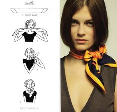 02 Hermes scarf knotting cards part Ways To Tie Scarves, Ways To Wear A Scarf, How To Wear Scarves, Head Scarf Tying, Tie A Scarf, Square Scarf Tying, Scarf Top, Scarf Knots, Small Scarf