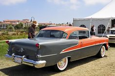 1955 Oldsmobile Super 88 Holiday - coral & gray metallic --- Dana Point 107 by Pat Durkin - Orange County, CA, via Flickr