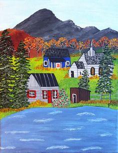 Water's edge, folk art painting, original art, acrylic painting, whimsical art, hand painted, wall decor, primitive, art, folk art by frompamelatoyou on Etsy