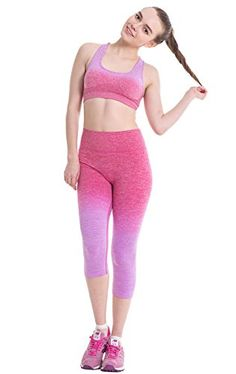 Womens Ombre Threequarter Tights Capri Yoga Sport Workout Leggings Pants SM Purple Red 1 set ** To view further for this item, visit the image link.
