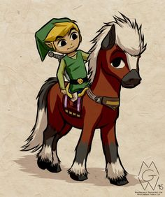 Toon Link and Epona by MykeGreywolf