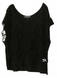 Black Lace Top #shortsleeves #chic #ustrendy