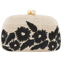 Serpui Marie Mandy Floral Embroidered Clutch ($205) ❤ liked on Polyvore featuring bags, handbags, clutches, prints, straw handbags, floral purse, flower print purse, woven straw handbags and chain strap purse