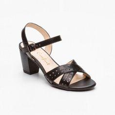 Sandalias de tacón, cuero negro Tacón: 7,5 cm