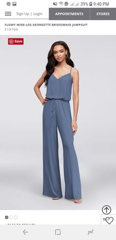 5a0e79fe1fc STEEL BLUE - Flowy Wide-Leg Georgette Bridesmaid Jumpsuit
