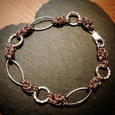 #Repost @silvertangle  #rosegold and #sterlingsilver and #thaisilver #bracelet #chainmaille with a twist  #jewellerydesign