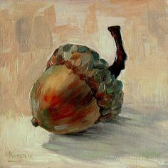 I don't know who painted it, but I would be pleased to hang this acorn on my wall.