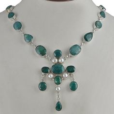 LATEST STYLE 925 STERLING SILVER FANCY EMERALD & PEARL NECKLACE 65.71g NK0058 #Handmade #NECKLACE