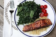 Quick & Easy Clean Eating Balsamic Salmon  (Serves 2)    2 wild caught salmon fillets (about 3-4 oz each)  1/2 tbs coconut oil/EVOO  1/2 Tbs honey  3 Tbs balsamic vinegar  1 tsp red pepper flakes  S, to taste-- chicken instead of salmon