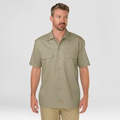 Dickies Men's Big & Tall Original Fit Short Sleeve Twill Work Shirt- Desert Sand Xxxl Tall