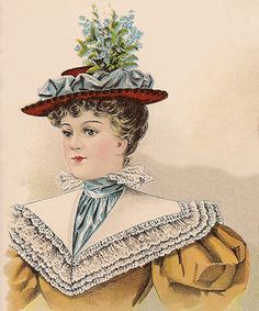 Victorian hat fashions for October 1896 included towering crowns, either pointed, square, or well-concealed, and as height was a hat essential for the fall Victorian Hats, Victorian Women, Victorian Fashion, Vintage Fashion, 1890s Fashion, Women's Fashion, Blue Stockings, Victorian Hairstyles, Edwardian Dress