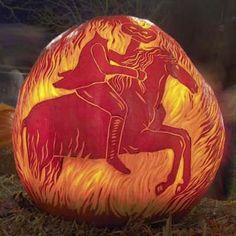 headless horseman carved pumpkin