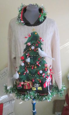2 Turtle Doves and a Pear in a Christmas Tree Tacky Ugly Christmas Sweater with Giant 3-D Christmas Tree Womens mens size
