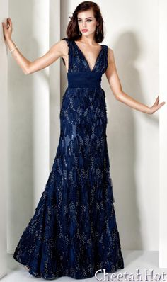 JOVANI - Beautiful Navy/Silver Gown