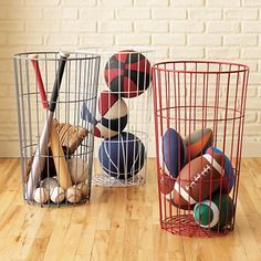 Kids' Storage Containers: Kids Flea Market Wire Ball Bins - great way to organize all the random sports stuff!