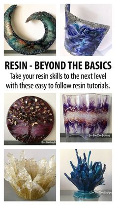 Spice up your resin art resin tutorials. Learn how to incorporate texture into your resin pieces, create interesting, unique resin sculptures & learn how to bend resin into shape. Epoxy Resin Art, Diy Resin Art, Diy Resin Crafts, Acrylic Resin, Resin Molds, Resin Pour, Art Crafts, Diy Resin Sculpture, Diy Resin Bowl