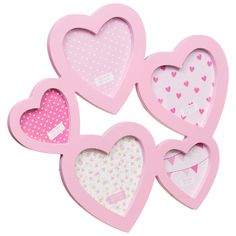 B&M: Multi Aperture Heart Photo Frames 5pc | Home Accessories
