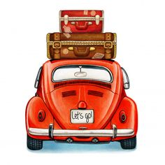 Watercolor Shiny Vintage Car With Luggage Back View Car Painting, Painting Canvas, Knife Painting, Canvas Wall Art, Volkswagen Bus, Vw Beetles, Vintage Cars, Vintage Luggage, Vintage Suitcases