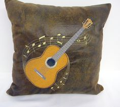 Decorative Pillow - Guitar - Guitar Pillow - Throw Pillow - Leather PIllow - Suede Pillow - Musical Decor - Guitar Decor - Custom Pillow by SewGoodbyDolores on Etsy