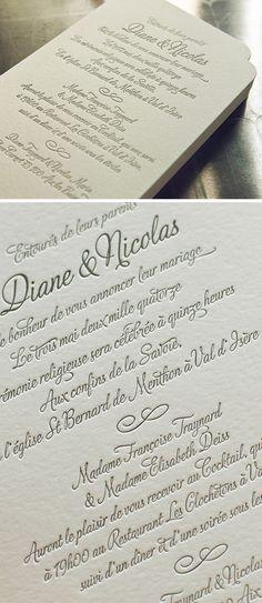 Faire-part de mariage classique imprimé en letterpress sur papier buvard 500g