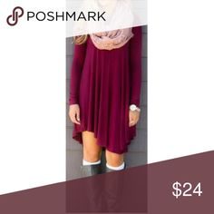 Boho Burgundy Loose Fit Tunic Dress S M L Beautiful for fall!! Boho burgundy loose fit tunic dress, long sleeves, 95% Rayon 5% Spandex.  Available is size small, medium, or large.  ARRIVING THURSDAY/SHIPPING FRIDAY!  No Trades, Price Firm unless Bundled.  BUNDLE 3 OR MORE ITEMS FOR 15 % OFF. Boutique Dresses Mini