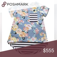 Gray Floral Top Adorable gray floral tee with contrasting striped pocket 95% Cotton 5% Spandex Shirts & Tops Tees - Short Sleeve